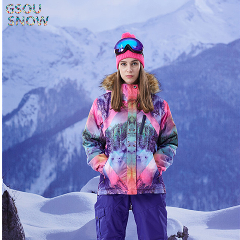 Gsou Snow Brand For Women Ski Jacket Waterproof 10000 Windproof Ski Sport Snowboard Winter Outdoor Sportswear full face cover mask winter ski mask beanie cs hat windproof neck warmer for outdoor snowboard ski motorcycle for christmas gift