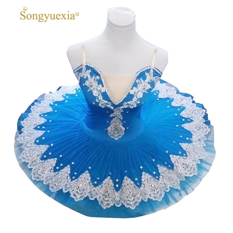 2020 Songyuexia Professional Puff yubka Balet Rəqsi Uşaqlar və Yetkinlər üçün Mavi tutu yubka 10 rəng
