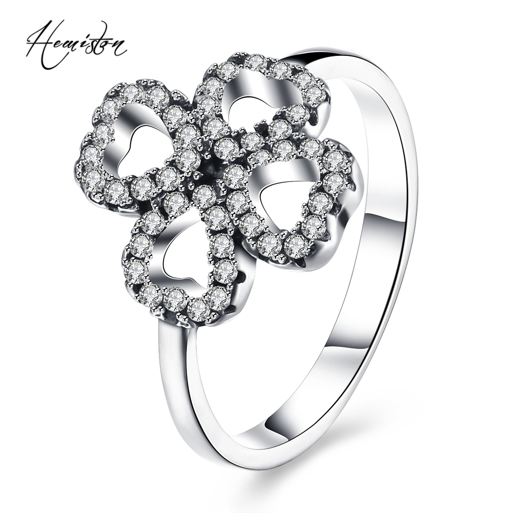 Hemiston Luxury Antique 100% 925 Sterling Silver Lucky Clover Rings Micro CZ Brand Rings for Women Wedding Jewelry PAR173