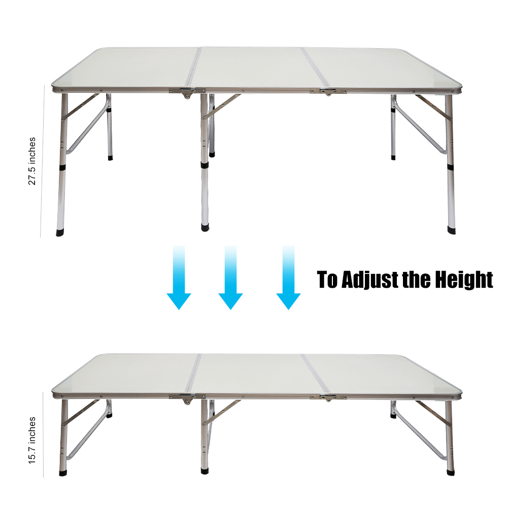 aluminum alloy portable 3fold table adjustable light weight foldable table for camping outdoor picnic