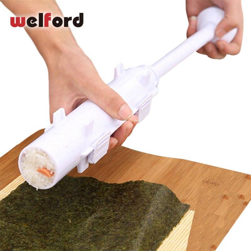 Kit de fabricación de moldes de rodillo de Sushi de welford, juego de Sushi, bazuka, arroz, carne, verduras, fabricación de utensilios de cocina, accesorios