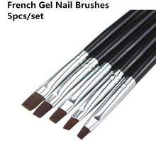 5pcs / set Gel Nail Art Børster Akryl Professionel Nail Tools UV Gel Børste Set Clean Up Nail Art Flat Børste