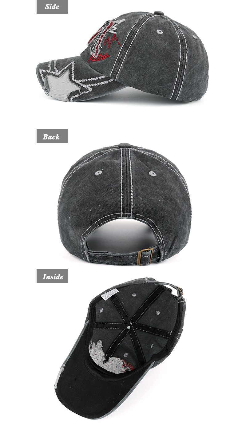 """Embroidered """"M"""" Baseball Cap - Gray Cap Side, Rear and Inside Views"""