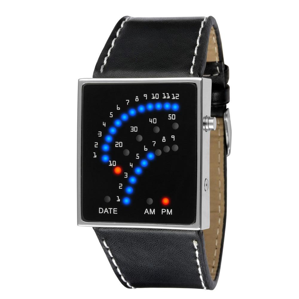 Attractive Hot Sale Fashion Women Mens Futuristic Stylish Multicolor Leather LED Sport Wrist Watch AG26
