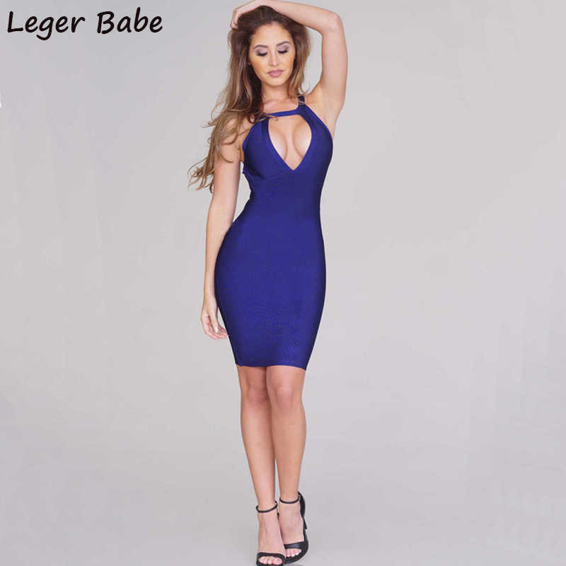 608e075601b FH21 2019 Cheap Summer Sexy Party Dresses Blue Criss Cross Back Sleeveless  Halter Neck Plunging Neckline