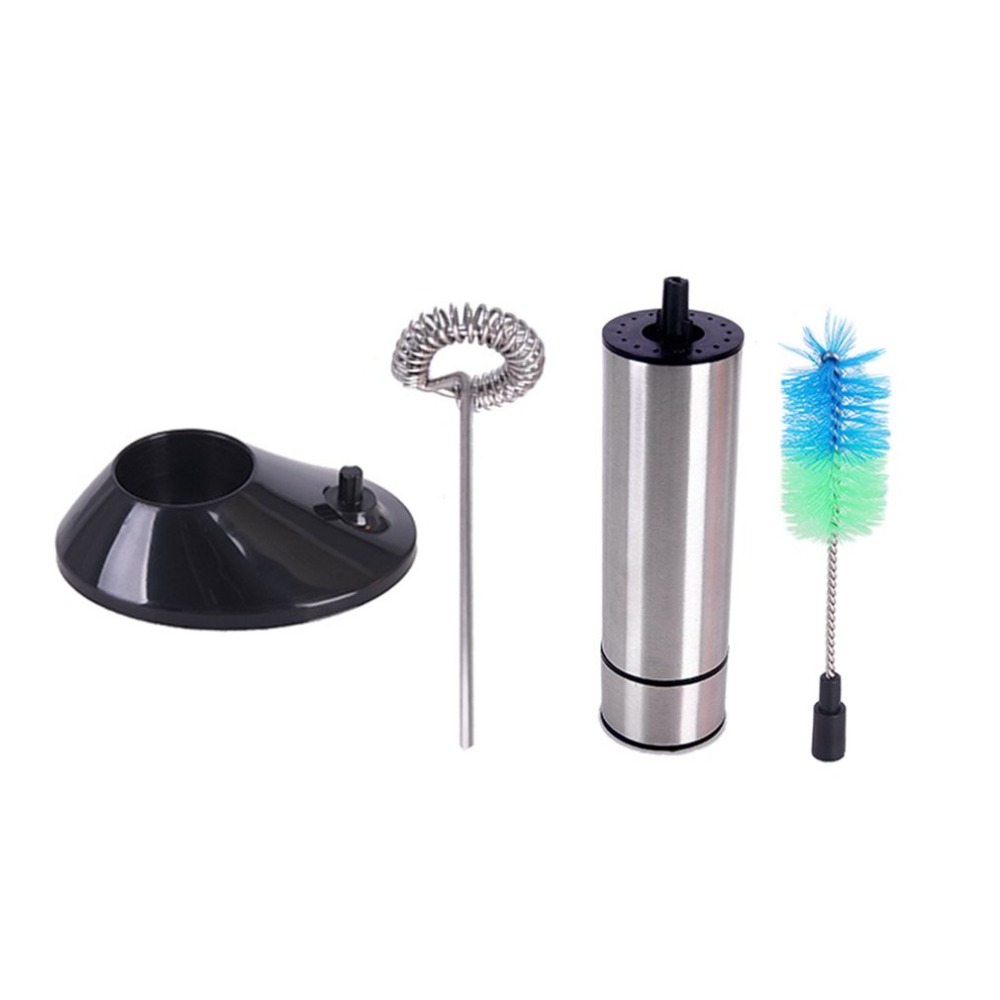 Stainless Steel Electric Milk Frother Egg Beater Frothing Coil Cappuccino Tea Coffee Foaming Maker With Brush Head Drop Shipping