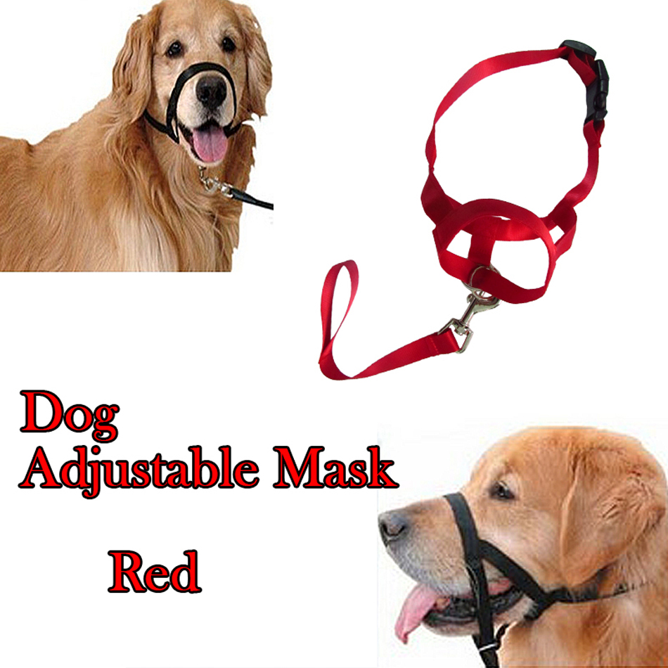 New Red Pet Adjustable Dog Mouth Muzzle Anti Eating Fabric Nylon No Bark Bitting Chew Quick Installation & Release Free shipping