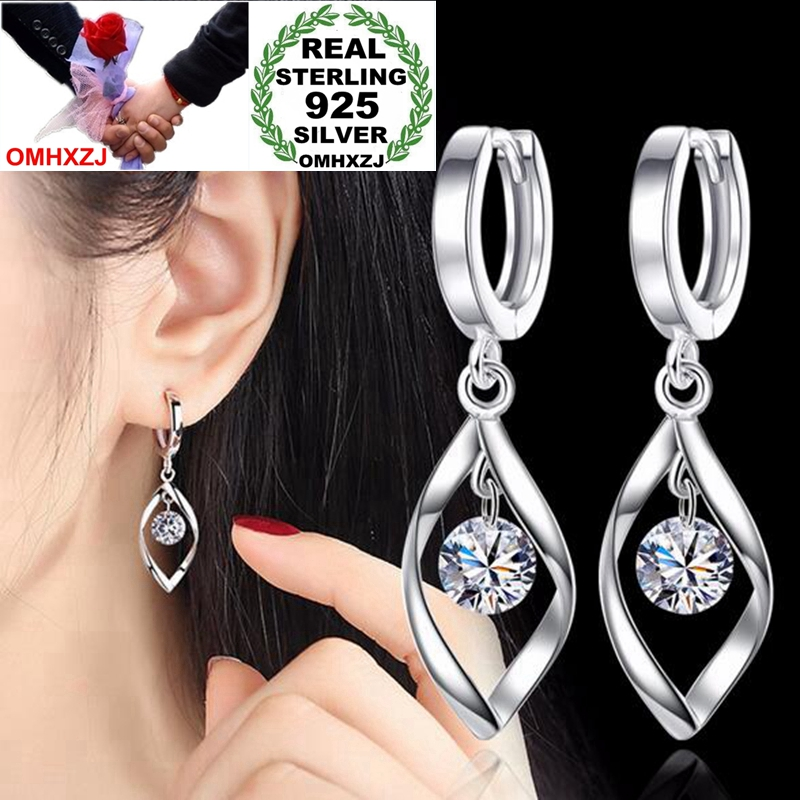 OMHXZJ Wholesale Jewelry fashion kpop star for Woman gifts Fine Rotate love 925 Sterling Silver buckle Hoop Earrings YS184