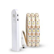 5 в PIR датчик движения полоса лампа USB Светодиодная лента светильник 2835SMD лента Диодная Гибкая ТВ Настольный ПК экран подсветка 1 м/2 м/3M