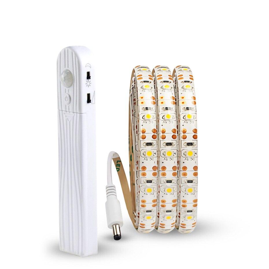 5V PIR Motion Sensor Strip Lamp USB Led Strip Light 2835SMD Tape Lamp Diode Flexible TV Desktop PC Screen Backlight 1M/2M/3M