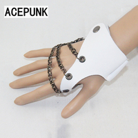 Кожаные перчатки мужские панк хип-хоп перчатки Для женщин модные перчатки без пальцев леди три цепи черный, белый цвет полу-палец перчатки