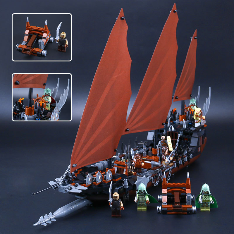 Lepin 16018 The Lord of Rings Series The Ghost Pirate Ship Pirate of The Caribbean Building Block Brick Toys For Kids Gift 79008 lepin 16018 756pcs genuine the lord of rings series the ghost pirate ship set building block brick toys compatible legoed 79008