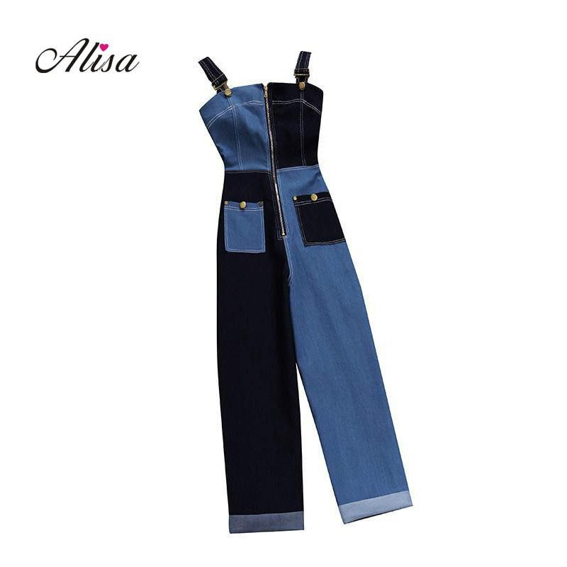 Goddess Temperament Denim Spaghetti Strap Jumpsuit 2019 New Womens Fashion Trend Strapless Patchwork Color Collision Jumpsuits