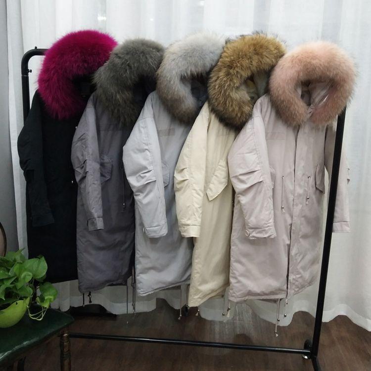 Real raccoon dog fur collar winte duck down coats outerwear women down jackets fashion parkas 2018 autumn winter MOVAU0203