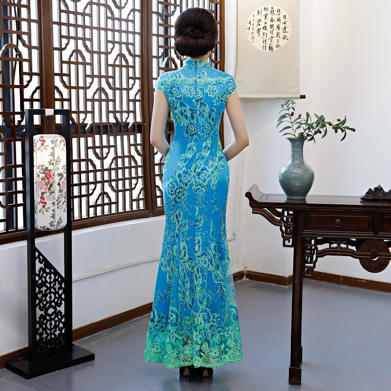 Green Vintage Chinese Style Wedding Dress Retro Long Gown Marriage Cheongsam Qipao Party Evening Dress Vestidos Clothe S-4XL
