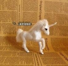 Simulation unicorn polyethylene&furs unicorn model funny gift about 15cmx3cmx11cm