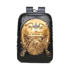3D кожа животных Для женщин рюкзак 2017 панк готический Заклёпки рюкзак сумка для подростков модная одежда для девочек путешествия ноутбук Сумки Лидер продаж