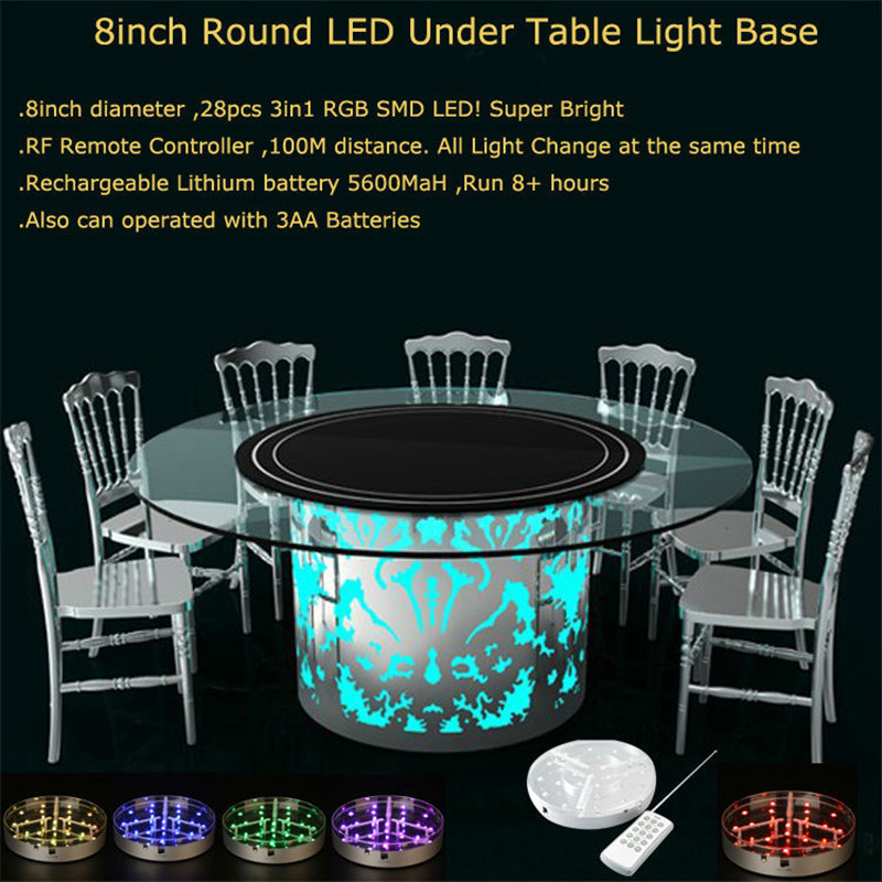 Rechargeable Lithium Battery Operated 8inch Round LED Under Table Light Base for Wedding Decoration kitosun patent design rechargeable battery operated rgb led centerpiece light base for wedding reception floral vase decoration
