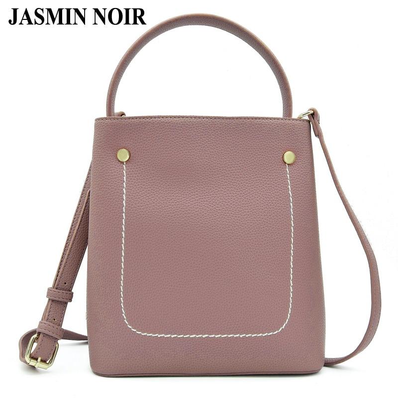 Fashion Design Women Litchi Pattern Tote PU Leather Handbags Office Lady Bucket Crossbody Messenger Bag Female Over Shoulder Bag