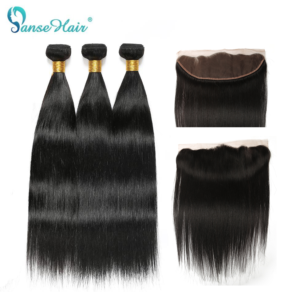 Panse Hair Brazilian Human Hair Extensions Straight 3 Bundles With A 13 4 Lace Frontal Non