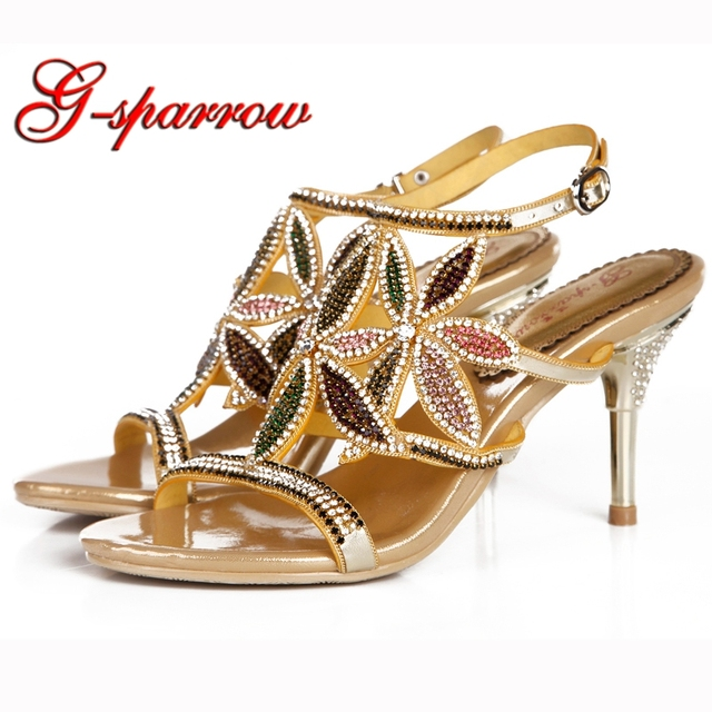 2018 New Rhinestone Summer Sandals Stiletto Heel Beautiful Women Dress  Shoes Anniversary Party Prom Heels Gold c851a0f7a7f1
