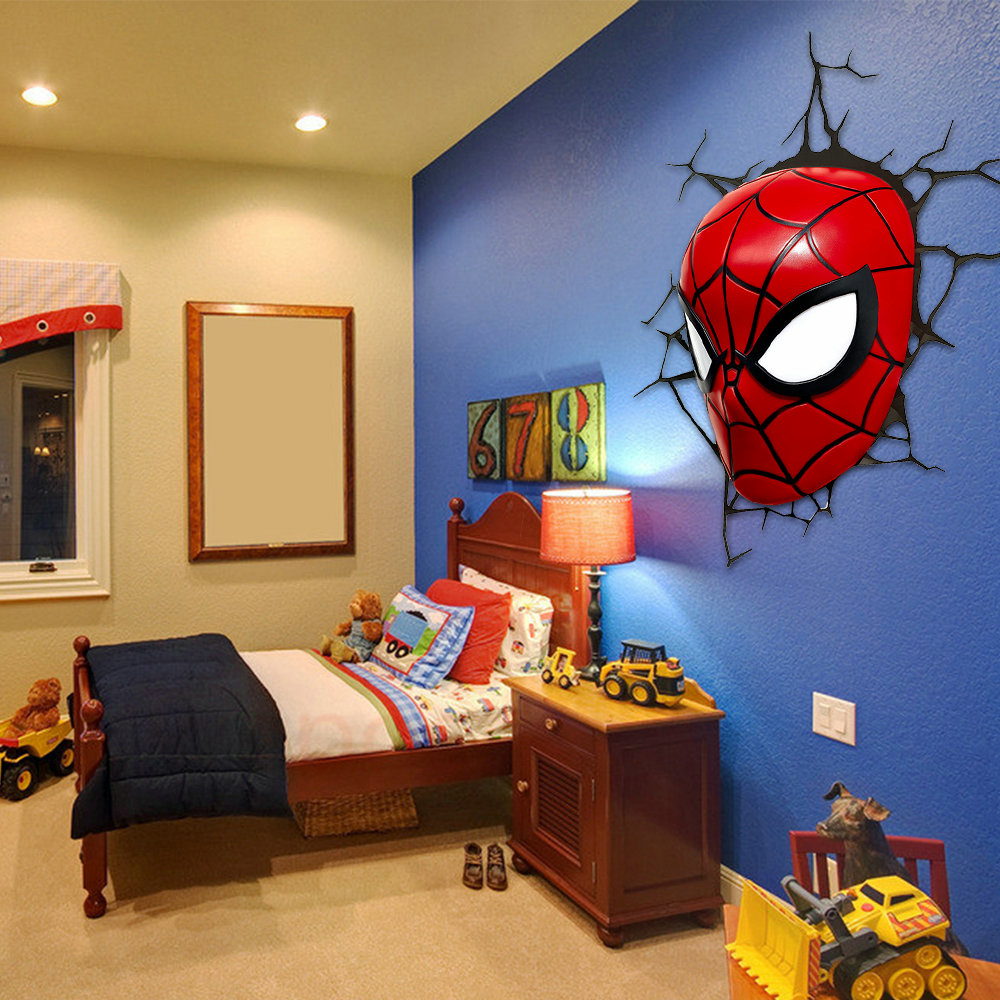 3d poster wall lamp cartoon spiderman action head shaped for Room decor 3d
