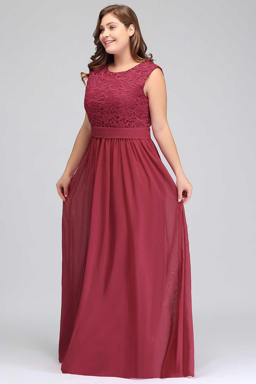 Cheap Long Chiffon A-Line Burgundy Bridesmaid Dresses plus size 2019  Vestido da dama de honra Prom Wedding Party Dresses