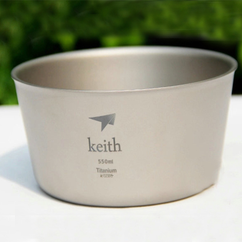 Кейт Титан 550 мл Еда контейнер одностенных Титан Чаша Пот Открытый Отдых Пеший туризм посуда для пикника для туризма Ti5321