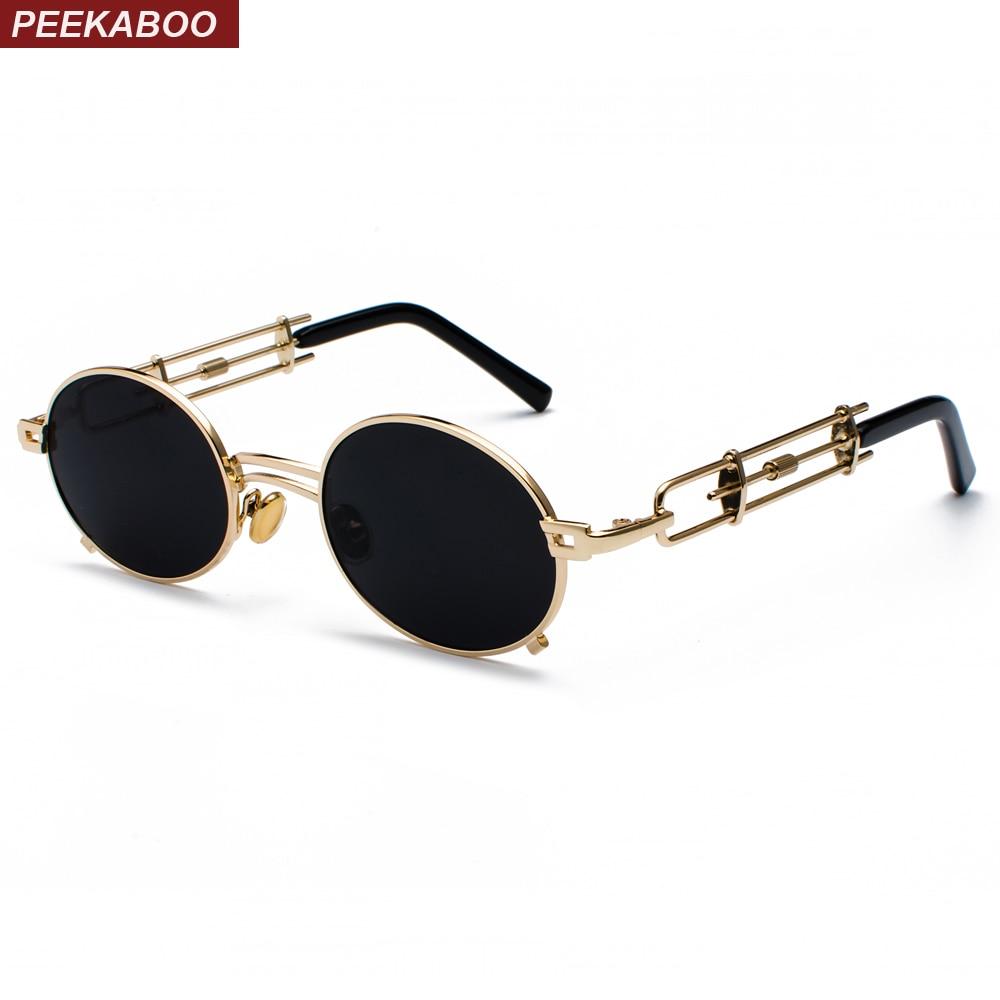 24c395bee365 Peekaboo retro steampunk sunglasses men round vintage 2019 metal frame gold  black oval sun glasses for