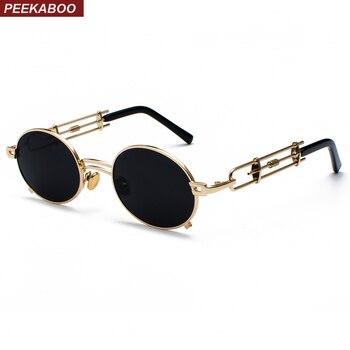 Peekaboo retro steampunk óculos de sol dos homens rodada do vintage 2019 de metal moldura de ouro preto oval óculos de sol para as mulheres vermelho presente masculino