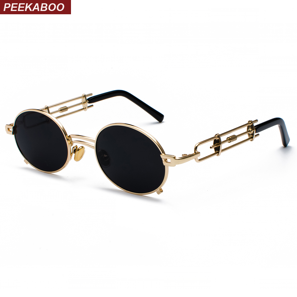 Peekaboo retro steampunk sunglasses men round vintage 2018 metal frame gold black oval sun glasses for women red male gift