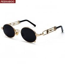 Peekaboo retro steampunk óculos de sol dos homens rodada do vintage 2019  metal quadro ouro preto oval óculos de sol para as mulh. c897f553c0