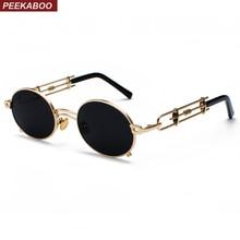 Peekaboo retro steampunk sunglasses men round vintage 2019 metal frame gold black oval sun glasses for women red male gift