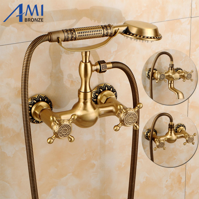 Wall Mounted Antique Brushed Brass Bath Faucets Bathroom Basin Mixer Tap Crane With Hand Shower Head Shower Faucet Sets NEW antique brushed brass bathroom faucet bath faucet mixer tap wall mounted hand held shower head kit shower faucet sets hf 6656f
