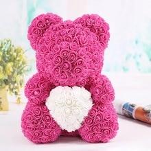 Лидер продаж, 40 см, искусственное розовое сердце, мишка тедди ручной работы, медведь из роз для женщин, подарок на день Святого Валентина, свадьбу, день рождения, Прямая поставка