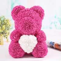 Hot 40cm Artificial Rose Heart Teddy Bear Handmade Bear of Roses For Women Valentine's Day Wedding Bithday Gift Drop Shipping