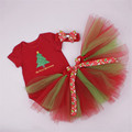2016 Fashion Christmas 3pcs Clothes Suit Baby Girls Short Sleeve Happy Birthday Romper +Headband+Tutu Skirts Baby Clothing Set