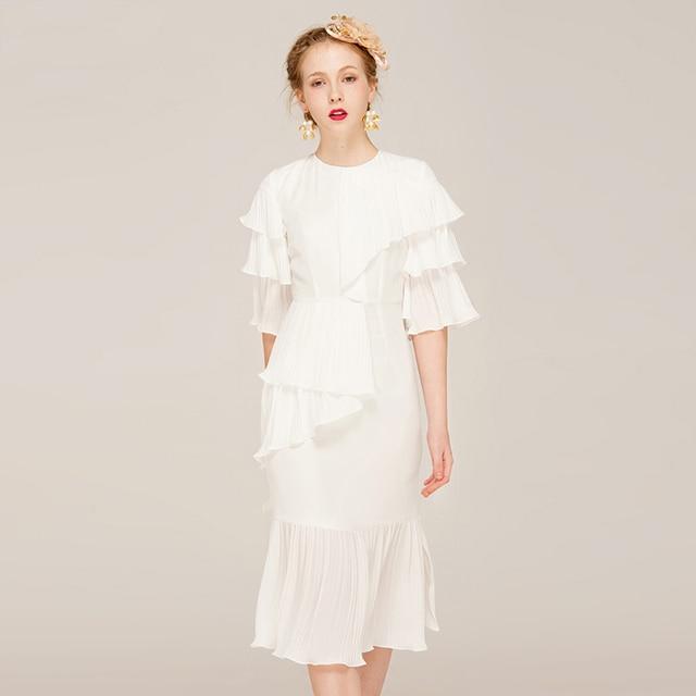 2017 Latest New Casual White Ruffle Designer Dress Women Fashion S O
