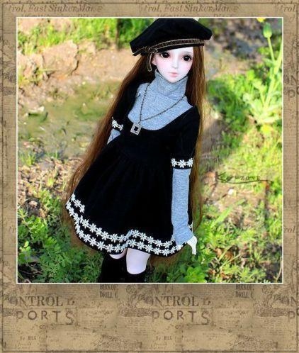 Daisy Black Dress Suit (5pcs) for BJD Doll 1/4 1/3 SD16 BJD SD MSD Luts DOD,AS,DZ Doll Clothes CWB24