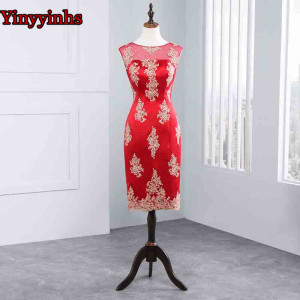 Image 5 - Vestido De Madrinha Mother of the Bride Dresses Knee Length 2 Piece with Jacket Mother Dresses High Quality Wedding Party Gown