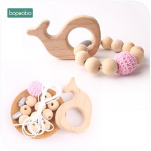 Bopoobo 1set Wooden Teether DIY Set Crochet Beads Mommy Hands-on Baby Birthday Gift Whale BPA Free DIY Bracelet Baby Teether(China)