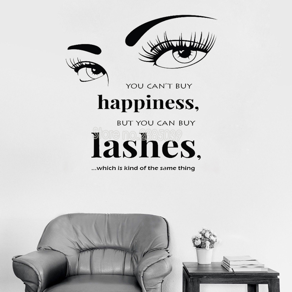 You Can\'t Buy Happiness Wall Sticker Quote Art Lashes Decal ...