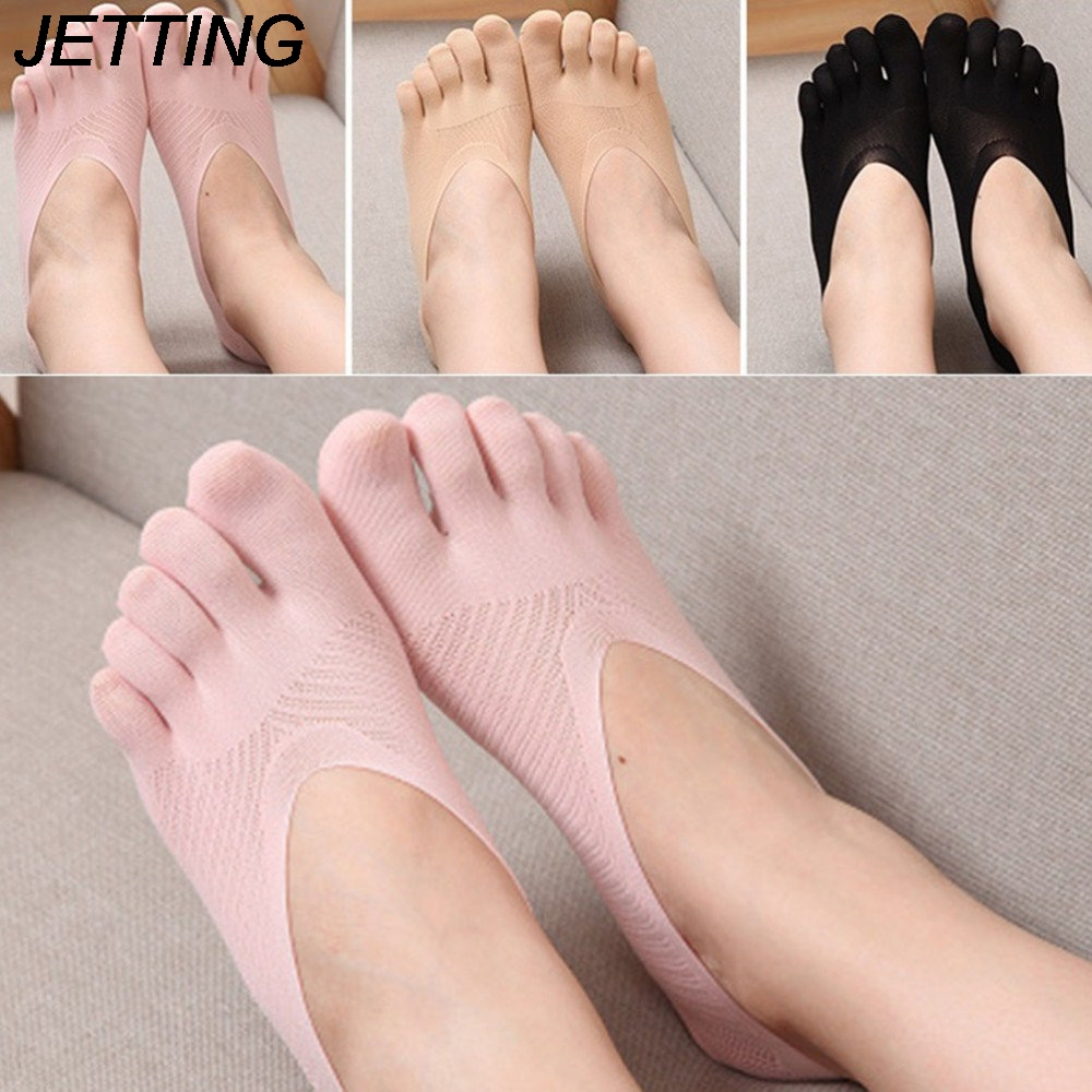 1 Pair Summer Style Thin Cotton Women Toe Socks Solid Color Silicone Deodorant Ankle Five Finger Summer Dress Boat Socks|socks solid|women toes sockssocks style - AliExpress