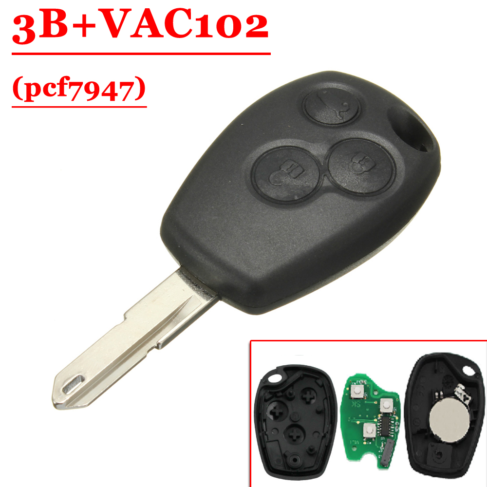 Hot Price(1pcs) 3 Buttons  Remote Key  PCF7947 Chip With VAC102 Blade For Renault 433MHz