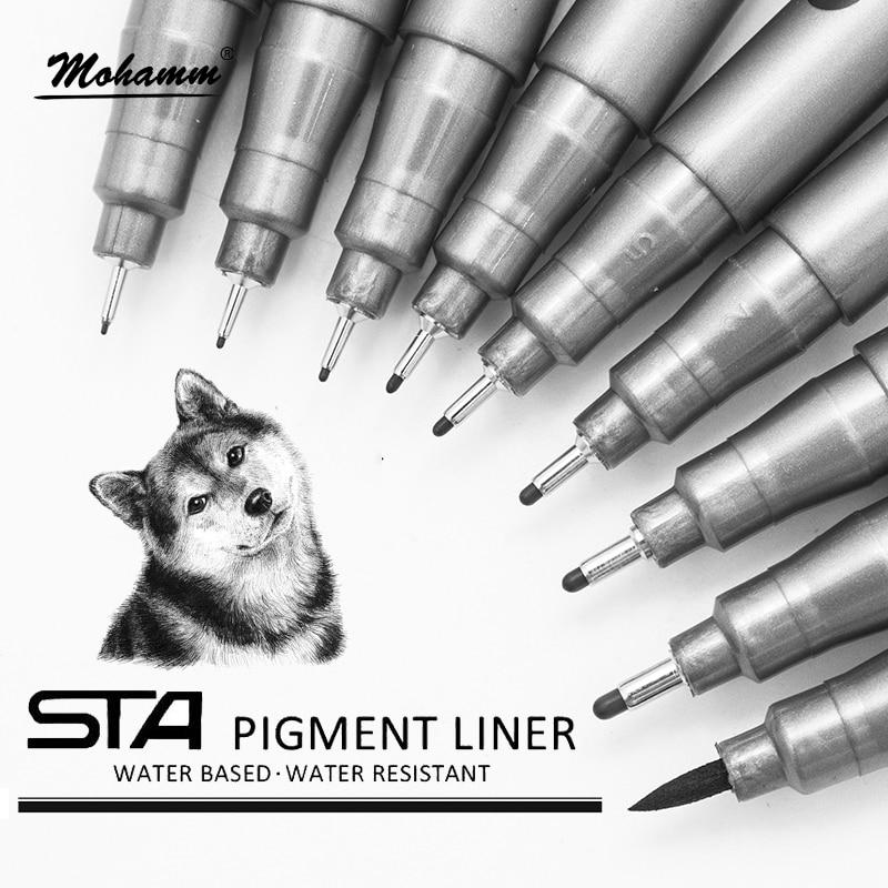 STA  Waterproof  Fade Proof Micron PenTip Fine Liner Black Sketch Water Marker Pen for Manga