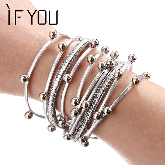 IF YOU Vintage Multilayer Beads Leather Bracelet For Women Classic Bell Rope Cha