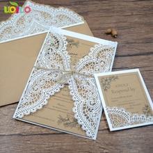 Новое поступление крафт-бумага лазерная резка горячая Распродажа приглашения на день рождения свадебные пригласительные открытки с открытки для ответа на приглашение с шпагатом