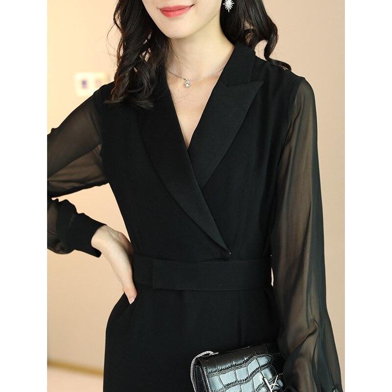 À Noir 2019 Nouvelle V Vêtements Longues Femmes La Le Printemps Au De Élégant Dans Net Épissée Col Fils Robe Manches 35jqRL4A