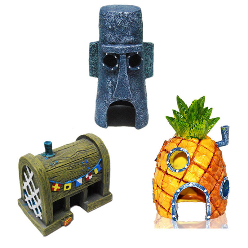 Home Aquarium Spongebob Figures Ornaments Pineapple House Squidward Easter Island Krusty Krab Fish Tank Decoration Decor