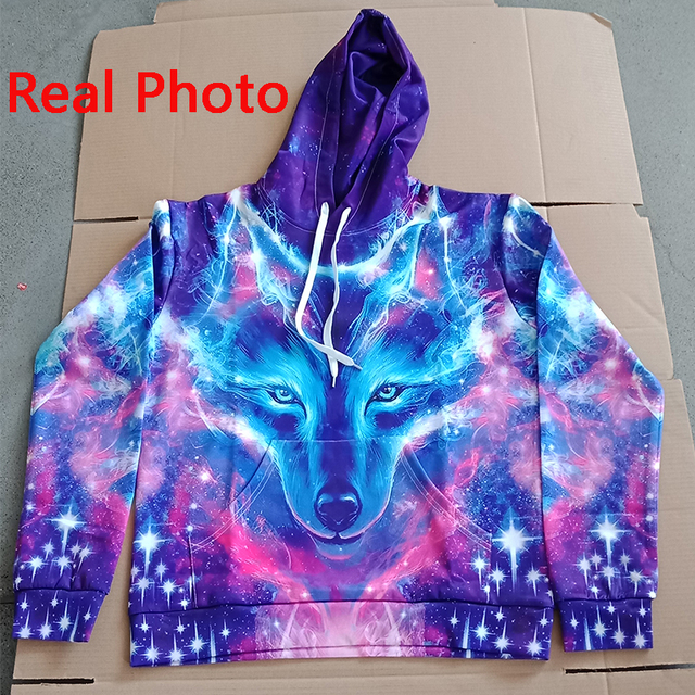 EUR Size Space Galaxy Wolf Hoodie Hoodies Men Women 2019 New Fashion Spring Autumn Pullover Sweatshirts Sweat Homme 3D Tracksuit 2